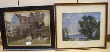 English School, oil on board, Landscape with rowing boat, 25 x 33cm and a study of a watermill