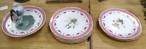 A set of eight floral and gilt dessert plates and comport and a Copenhagen penguin miniature vase