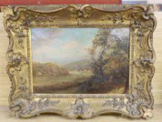 19th century English School, oil on canvas, Estuary scene, 21 x 31cm