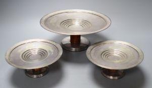 A set of three graduated Art Deco Princes Plate comports, 24cm and 15cm