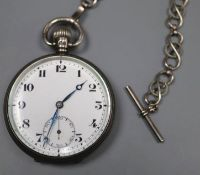 A 1920's silver open face Record keyless lever pocket watch, with a white metal albert, case