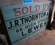 A large Thornton & Co. Lewes 'Sold Board', width 183cm, height 111cm