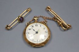 A George V 15ct gold fob watch, on chain with yellow metal pin, gross 22.4 grams, and a yellow metal