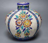 A 1920s Boch Freres enamelled vase, 17cm