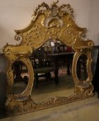 A Victorian giltwood and gesso overmantel, width 158cm height 158cm
