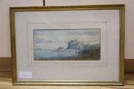 Gabriel Carelli (1820-1880), watercolour, Italian coastal landscape, signed, 12 x 26cm