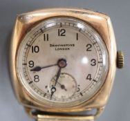 A gentleman's early 20th century 9ct gold manual wind wrist watch, retailed by Bravingtons,