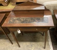 An Edwardian satinwood banded mahogany writing table, width 76cm depth 42cm height 93cm