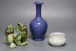 A Chinese powder blue vase, 23cm, Chinese crackleware bowl, 10cm diameter and an earthenware