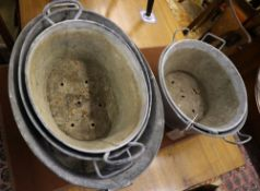 A collection of five galvanised metal tubs, largest 53 x 40cm
