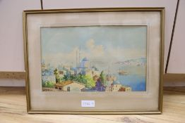 Vajit Armagan, watercolour, View of Constantinople across the Bosphorus, signed, 24 x 39cm