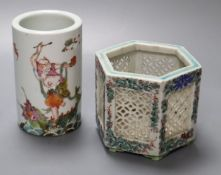A Chinese enamelled porcelain spill vase, 12cm, and an hexagonal Chinese porcelain vase, 10cm