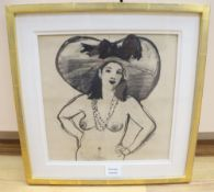 Michael Whittlesea (1938-), charcoal, 'The Large Hat', signed, 30 x 30cm