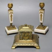 A pair of ormolu mounted alabaster candlesticks, 18cm and a cast brass inkwell with ceramic liner,