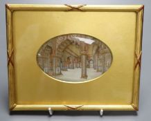 A 19th century Indian oil on ivory miniature - Temple interior, 8 x 13cm oval