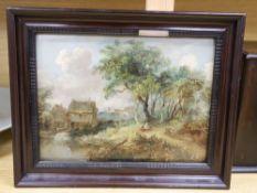 After Gainsborough, oil on panel, Landscape with cottage, 22 x 29cm
