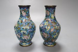 A pair of small Chinese cloisonne vases, 13cmCONDITION: One vase with two dents with damage to