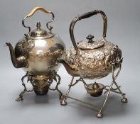 Two Victorian silver plated tea kettles each on burner stands, 34cm high