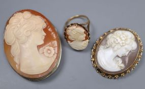 A 9ct gold and oval cameo shell ring, size N, gross 5.8 grams, a 9ct gold mounted cameo brooch,