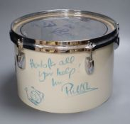 Phil Collins, a signed Gretsch drum, 32cm