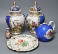 A pair of Helena Wolfsohn vases with covers in early Meissen style, 27cm and three other