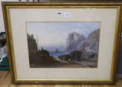 Thomas Hart FSA (1830-1874), watercolour and gouache, A Cornish cove, signed and dated 1869, 33 x
