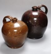 Two 19th century Sussex glazed terracotta jugs, tallest 28cmCONDITION: Both have shallow chipping