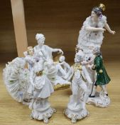 A group of six Continental porcelain figures, tallest 30cmCONDITION: Very minor wear only to lace