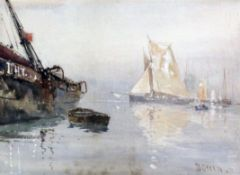 David Gould Green RI (1854-1918), watercolour, Shipping in harbour, signed, 24 x 34cm signed, 9.5