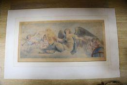 After Bartolozzi, stipple engraving, Angel and cherubs, 24 x 49cm, unframed