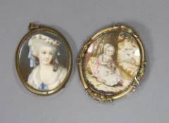 Two Georgian portrait miniatures, one of a lady and one of child, tallest 5.5cm