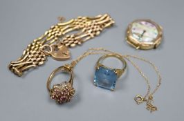 A 9ct gold gate-link bracelet, two 9ct and gem set rings, a 9ct fine chain and a lady's 18ct gold