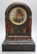 A Victorian black slate and rouge marble mantel clock, with French bell-striking movement, 43cm