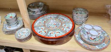 A collection of early 20th century Cantonese porcelain tea and dinnerwares, including an hors d'