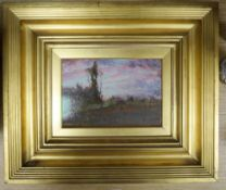 """Sir David Murray (1849-1933), oil on panel, """"Sunset"""", signed and dated '86, 13 x 20cm"""