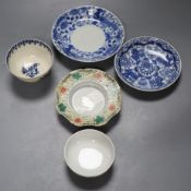 Three Chinese saucers, Chinese tea bowl, 18th century English tea bowl, largest 14cmCONDITION: