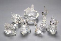 Seven Swarovski animal ornaments