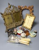 Miscellaneous items including pine frame, mini easel, two brass frames, eight silver plated fish