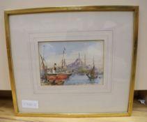 Conrad H. R. Carellli (Italian 1869-1956), watercolour, A view on the Bosphorus, signed, 12 x 17.