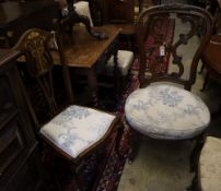 An Art Nouveau style Edwardian inlaid mahogany salon chair and an early Victorian carved rosewood