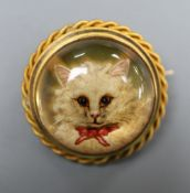 A Victorian yellow metal and Essex crystal set circular brooch, decorated with the head of a cat,