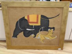 Indian School, oil on silk, Elephant attacking a tiger, 79 x 94cm