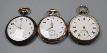 Three assorted pocket watches including silver and 800 standard.