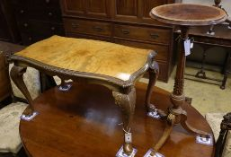 A brass mounted walnut tripod wine table and a Queen Anne style walnut low table, tripod table