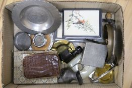 A quantity of mixed collectables to include three pieces of pewter marked 'JHG', an Audax monocular,
