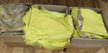 Three yellow fabric curtains with pelmets, a silk and metal thread brocade panel and a wool hanging