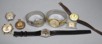Eight assorted wrist watches including Globe & Avia.