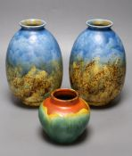 A pair of Crown Ducal mottled vases, height 20cm and a Belgian vase, all with abstract glaze