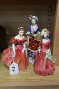 Two Royal Doulton figures and a Samson figure, tallest 25cm