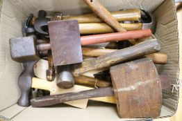 A quantity of mixed mallets and hammers
